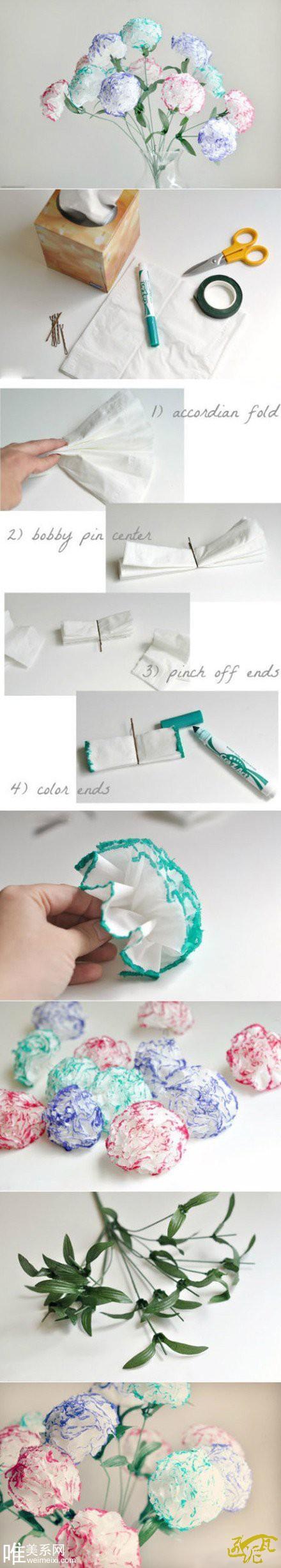 用纸巾做的康乃馨花朵手工教程