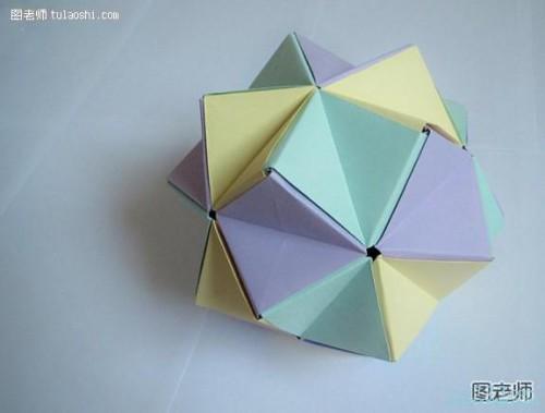 手工diy折纸大全 立体多角组合纸球的折法教程